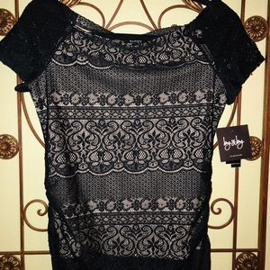 NWT Lace black blouse with cream colored lining